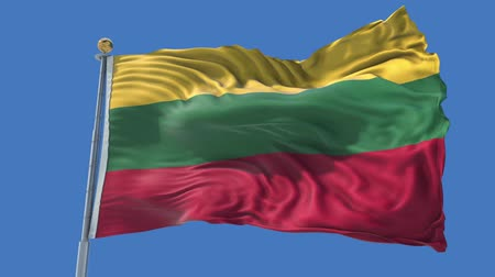 flag of lithuania : Lithuania animated flag in the wind with blue sky in the background, green screen, blue screen or isolated background and the flag on the full background, all in one animated flag pack.