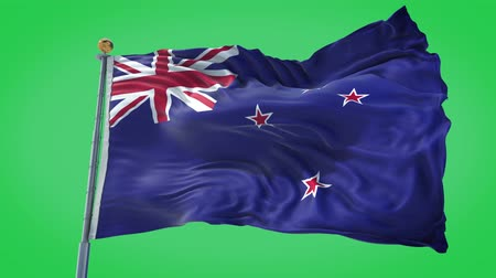 nový zéland : New Zealand animated flag in the wind with blue sky in the background, green screen, blue screen or isolated background and the flag on the full background, all in one animated flag pack.