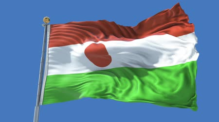 niger : Niger animated flag in the wind with blue sky in the background, green screen, blue screen or isolated background and the flag on the full background, all in one animated flag pack.