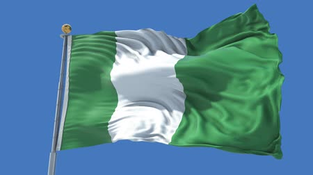 nigeria flag : Nigeria animated flag in the wind with blue sky in the background, green screen, blue screen or isolated background and the flag on the full background, all in one animated flag pack.