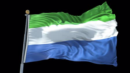 sierra leone flag : Sierra Leone animated flag in the wind with blue sky in the background, green screen, blue screen or isolated background and the flag on the full background, all in one animated flag pack. Stock Footage