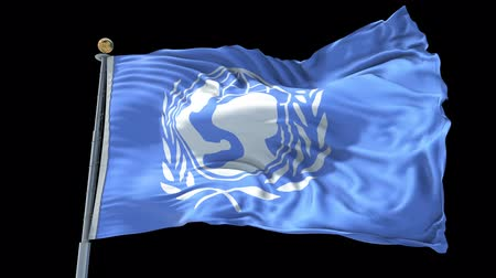 unicef : UNICEF The United Nations Childrens Fund animated flag in the wind with blue sky in the background, green screen, blue screen or isolated background and the flag on the full background, all in one animated flag pack. Stock Footage