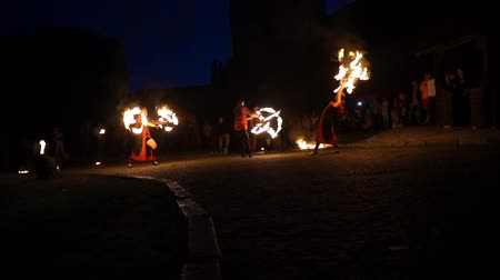 Ukraine, Lutsk, 16.09.2017: Fire show at the festival
