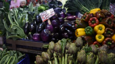 grocery store : Assortment of fresh vegetables at a farmers market in Rome, Italy