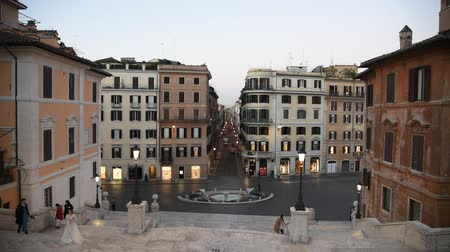 Rome Trinita dei Monti church, spanish steps and realism video in the early morning