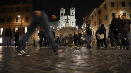 antikvitás : Rome Trinit? dei Monti church, spanish steps and realism video in the early morning