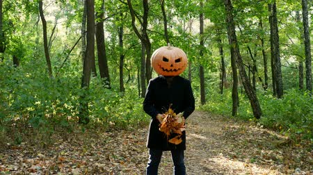 buta : Cheerful man with a pumpkin on his head scatters the leaves of the forest. Halloween concept.