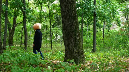 странный : A man pumpkin head appears from behind a tree with a knife in the forest, Стоковые видеозаписи