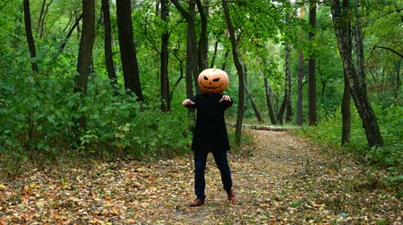 hloupý : Halloween pumpkin head faces in the autumn forest moves like a zombie