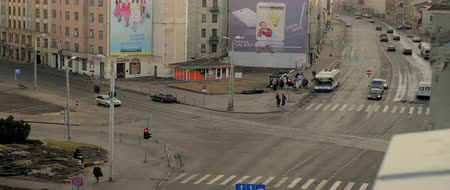 riga : Time lapse of a busy intersection in Riga, Latvia.