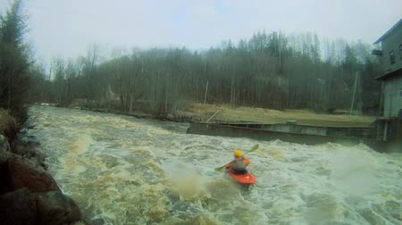 kano : Whitewater kayaking on the Amata river, in Latvia.