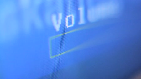 boxe : TV volume - TV volume adjustment. Bar graph display onscreen. Volume down then volume up. Stock Footage