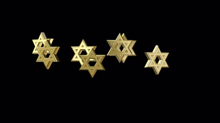 zsidó : Animation Jewish star with glow, Alpha channel Stock mozgókép