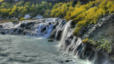 hraunfossar : HD video of beautiful turquoise waterfalls in Iceland. HDR, HD video