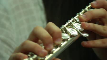 flet : Mans hands playing a wind instrument Wideo