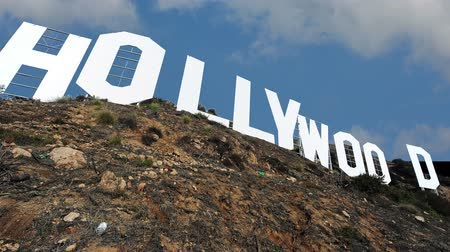 usa : Timelapse clouds quickly fly over the Hollywood sign 4K