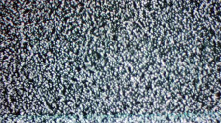 turning off : White noise on the TV screen, no TV signal Stock Footage