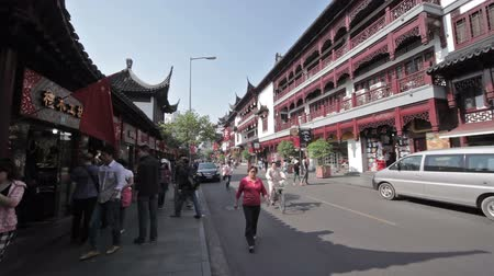 menigte : Yuyuan Shangchang historische architetrical Stockvideo