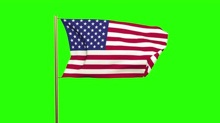allegiance : United states flag waving in the wind. Green screen, alpha matte. Loopable animation