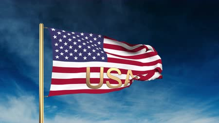 devletler : United states flag slider style with title USA. Waving in the win with cloud background animation