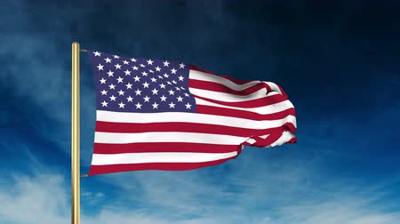 listras : United states flag slider style. Waving in the win with cloud background animation Stock Footage