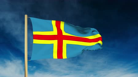 morze bałtyckie : Aland Islands flag slider style. Waving with cloud background animation