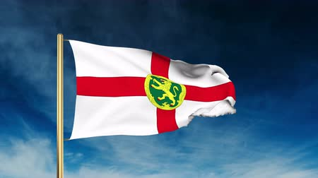 dut : Alderney flag slider style. Waving with cloud background animation Stok Video
