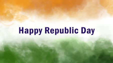 cumhuriyet : happy republic day indian tricolors smoke animation Stok Video