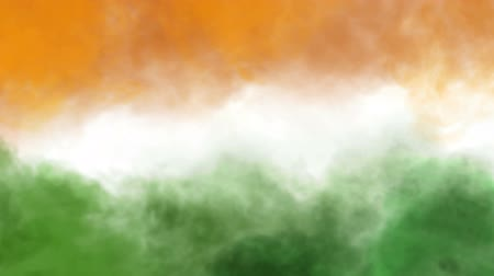 üç renkli : three colors smoke animation like tricolors of indian national flag Stok Video