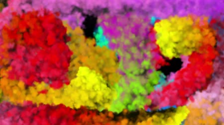 cores vibrantes : colorful powder or particles fly after being exploded and mixed up and spread smoke