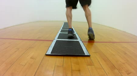 Athletic rotational movement quarter turn ladder footwork drill