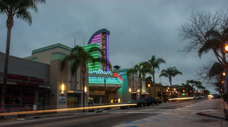 Time Lapse editorial of Ventura Main Street movie theater with streaking headlights on October 11, 2016.