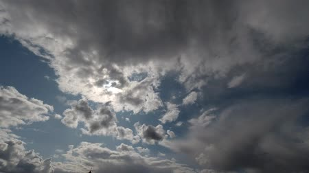 Time lapse: beautiful clouds floating by the sky in sunny day. 4K Stock mozgókép