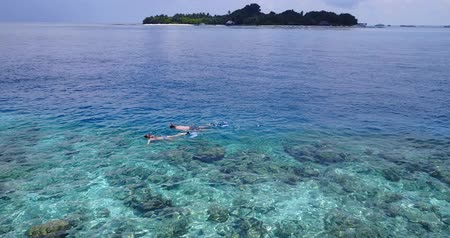 šnorchl : Aerial flying drone view of Maldives white sandy beach 2 people young couple man woman snorkeling swimming diving on sunny tropical paradise island with aqua blue sky sea water ocean 4k