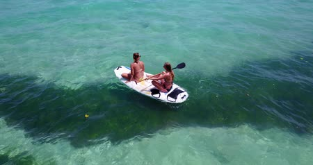 z lotu ptaka : v08229 2 pretty young girls on a surfboard paddleboard with aerial view in warm blue sea water Wideo