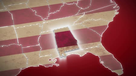 alabama : USA map, Alabama pull out, all states available. Red background Stock Footage