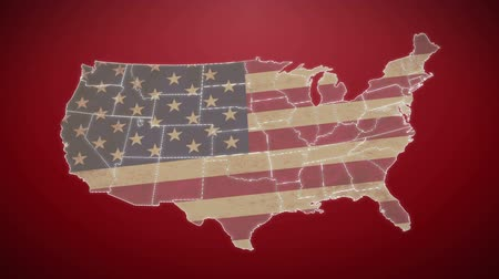 united states : Separated United States map with US flag, red background Stock Footage