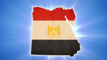 teargas : Egypt map with Egyptian flag on blue background
