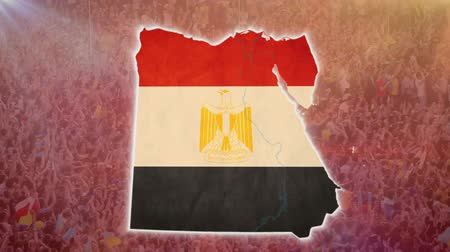 teargas : War in Egypt, Egyptian map with flag, crowd, guns on background Stock Footage