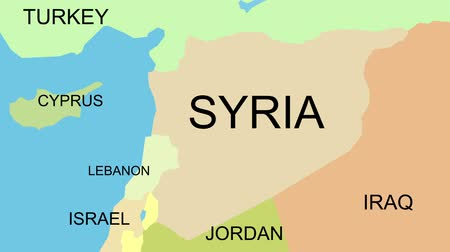 teargas : Syria map with capital, cities, neighbors, zoom in, accurate Stock Footage