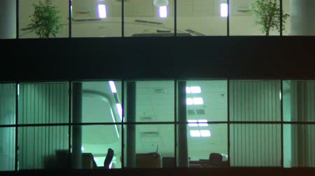 bloklar : Office windows night shift, business center floor, rooms light Stok Video