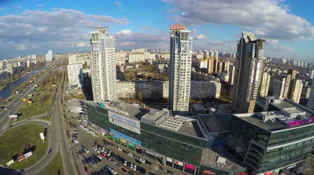 жилье : Aerial view of residential district in big city, tall buildings