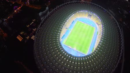 fan zone : Lights of enormous football stadium at night, view from above