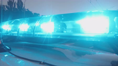 police interceptor : Emergency vehicle blue lights flashing, closeup. Police interceptor, ambulance Stock Footage