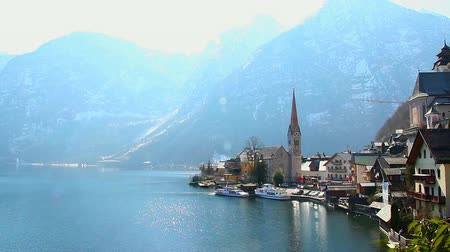 evangelical : Wonderful place in Austrian Alps, Hallstatt village near lake
