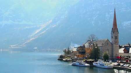 evangelical : Famous church in Austrian Hallstatt village, tourist attraction Stock Footage
