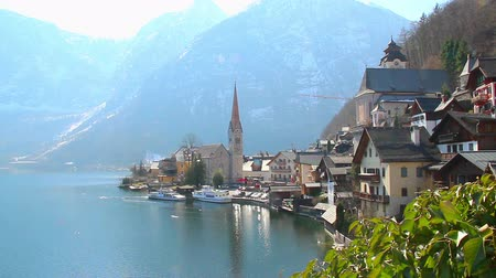 evangelical : Hallstatt village in Austria, popular among tourists ski resort
