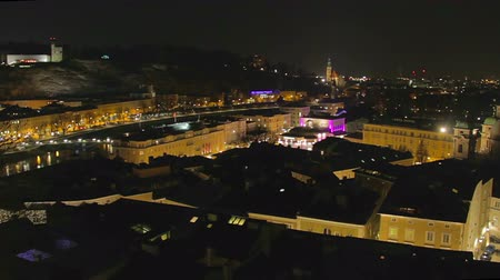 mozart : Timelapse of Salzburg, nightlife in big tourist city in Austria