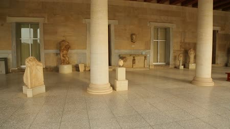 reconstructed : Panorama view inside restored Stoa of Attalos, Ancient Agora, archeology museum Stock Footage