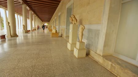 points of interest : Point of view of tourist looking at ancient marble statues at history museum Stock Footage